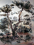 Vliegden/ Pine on Barren, watercolour, approx. 75-80 cm, E 450 SOLD