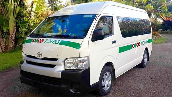 A Cocotours van for a transfer to La Romana & Bayahibe