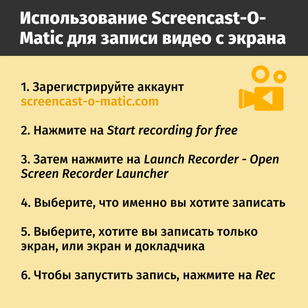 Использование Screencast-O-Matic для записи видео с экрана