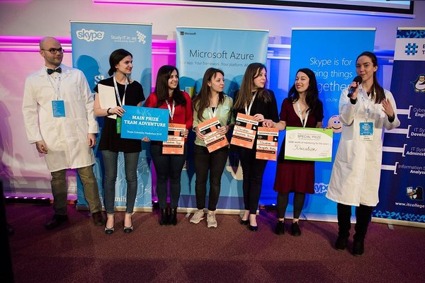 The winners of Skype University Hackathon 2016 - 3Ducation. Photo by Maido Parv
