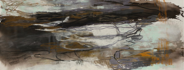 Traces of a Change, 2018, pastel, 40 x 110 cm