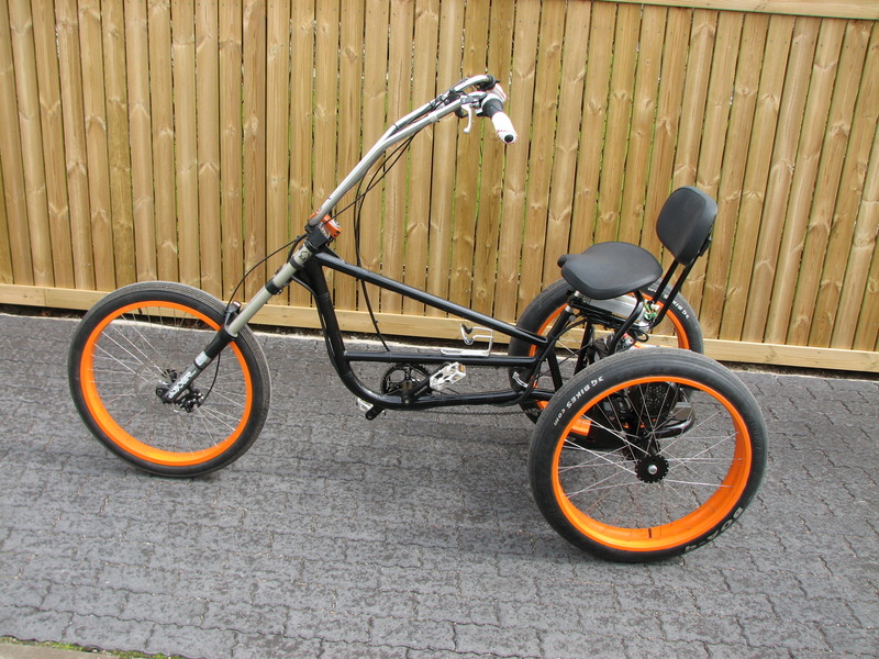 Choppertrike has 800w trike kit, now with lyen 9 fet controller and pedelec sensor.