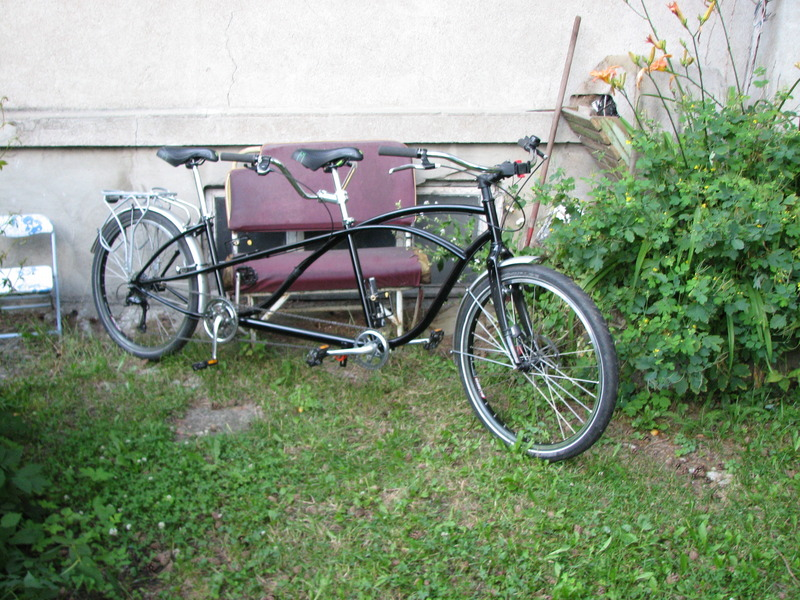 Schwinn tandem made for travelling in hard road conditions in Russia.