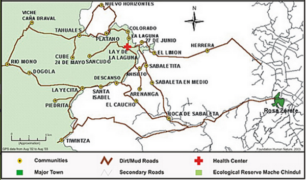 Map of the Region El Páramo – created by volunteers who determined their positions with the help of a GPS