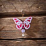 Dark pink butterfly with key ring