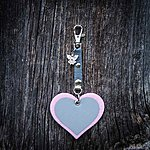HEART. Light pink with light grey textile ribbon K1 fastening and angel charm.