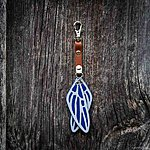 Dragonfly. Blue with tan leather K1 clasp fastening.