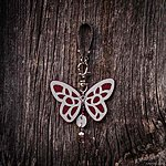 Dark red butterfly with K2 fastening, black leather, glass beads