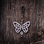 Dark purple butterfly with K2 fastening, black leather, glass beads