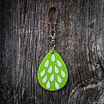 Lime green Rain, K2 fastening, tan leather
