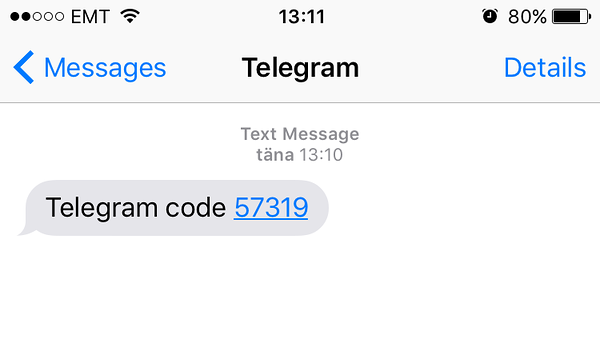 Telegram messaging app authentication code