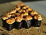 #68 BAKED SUSHI / SALMON, TUNA, BUTTERFISH, EEL, SHIITAKE, EBI, OCTOPUS, SNOWCRAB OR SCALLOP / 2.10€/PC