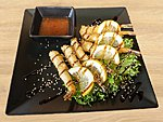 #320 NABASHI TEMPURA  / 6 TEMPURA TIGER SHRIMPS, UNAGI AND SWEET CHILLI DRESSING, SESAME SEEDS / 5.50€