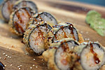 #218 SHRIMP TEMPURA / SHRIMPS, SPICY DRESSING, ESTONIAN CHEESE, UNAGI DRESSING, SESAME SEEDS / 9.50€