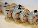 #36 HIJAKO / SCALLOP, CRABMEAT, TUNA, SALMON, BLACK AND ORANGE MASAGO / 9.50€