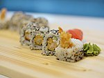 #11 KANTO / TEMPURA EBI, CUCUMBER, CREAM CHEESE, SESAME SEEDS / 8.30€