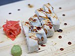 #208 PELGULINN / ROCK GUNNEL (BUTTERFISH), SPICY DRESSING, CUCUMBER, SALMON, UNAGI DRESSING, SESAME SEEDS / 8.50€