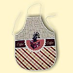 Coffee themed apron. Price 5.99 EUR. Material: 100% polyester , top layer is coated with  teflon to  prevents stains.