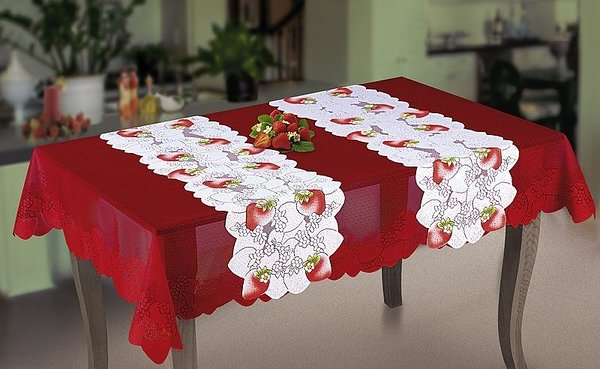 Strawberry table cloth red  125*180 cm     Price 13,70 pc      White Strawberry tablecloth   35*130 cm    Price 6,05 pc