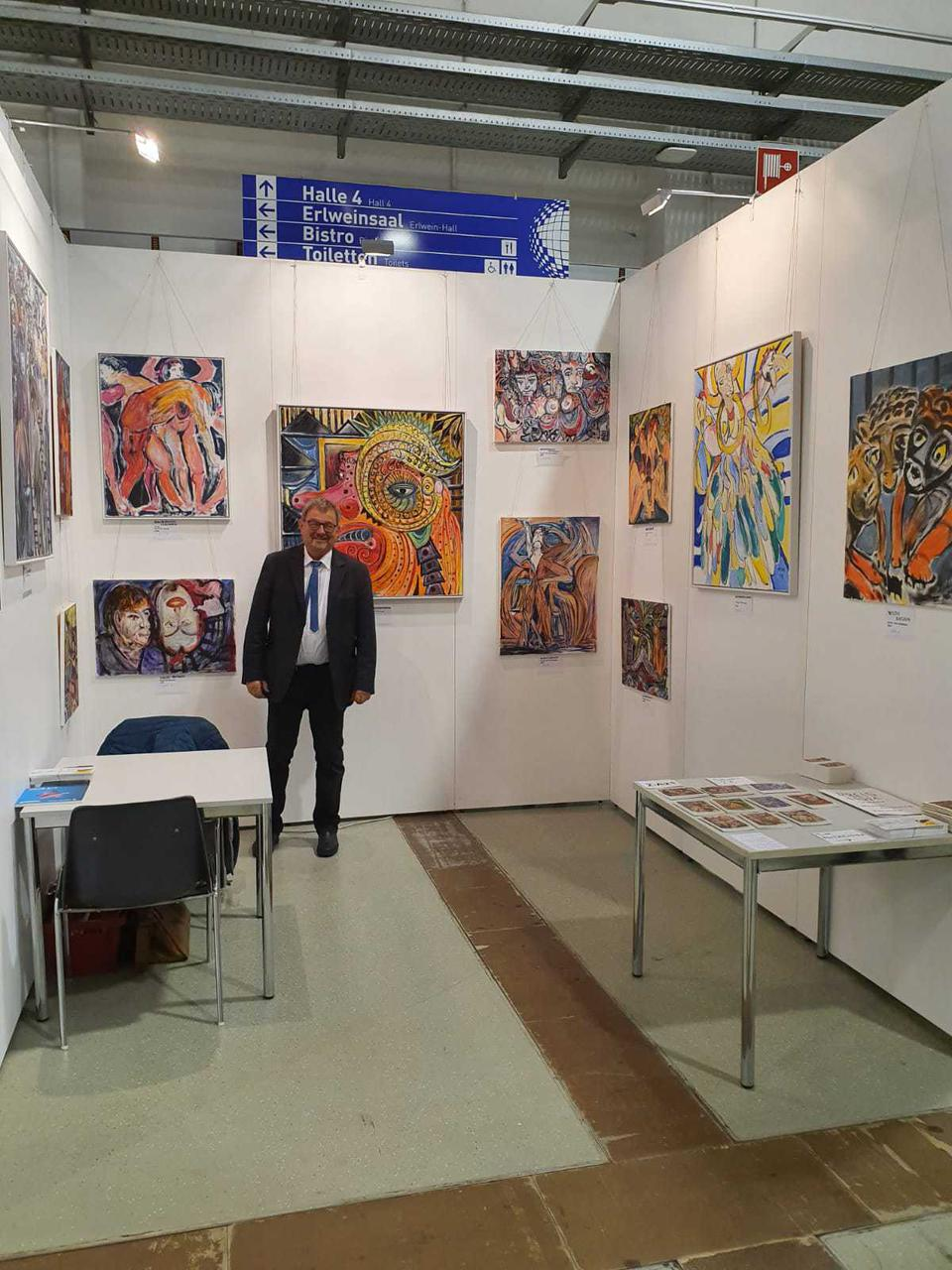 At the art fair Dresden, Michael at his booth.