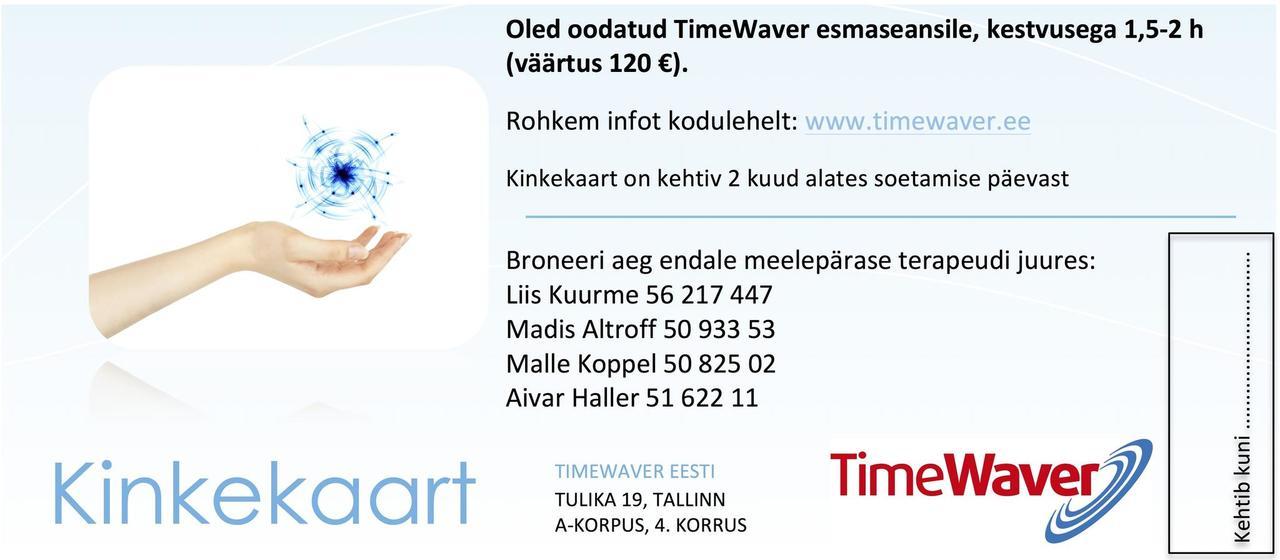 timewaver eesti infovälja teraapia kinkekaart