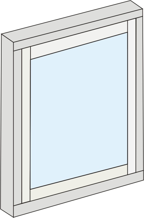 Fixed sash. Window frame with a fixed sash which has the same sight lines as an opening casement window.
