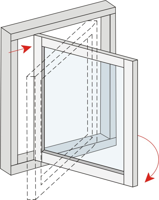 Side Swing Reversible.  Outward opening window has a classic design with modern function. The window sash can be rotated 180 degrees which means you can safely wash the outside of the window from inside.