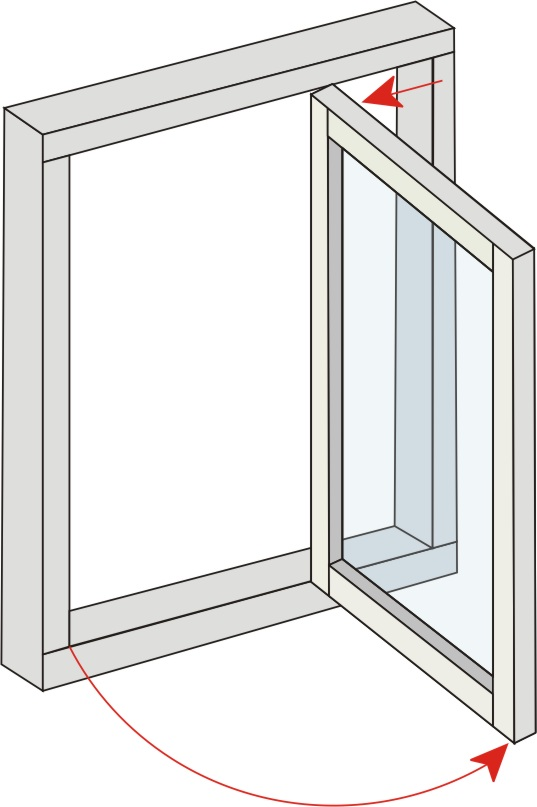 Projecting Side Hung. The window has a side hung open out action, the sash being hung on a pair of concealed friction hinges. An opening angle of 90 degrees can be achieved to enable external surfaces to be cleaned from within the building.