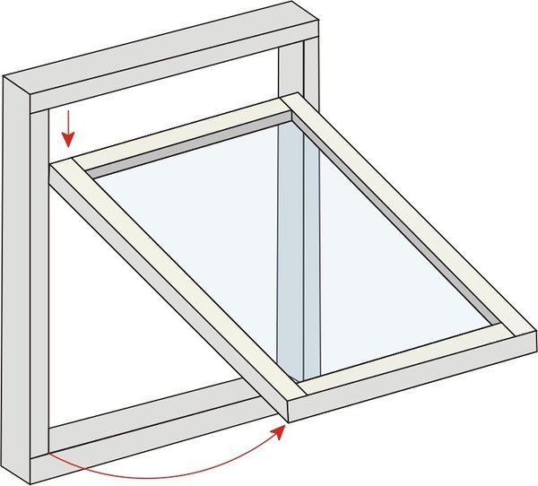 Projecting Top Hung. The window has a top hung open out action, the sash being hung on a pair of concealed friction hinges.  An opening angle of up to 80° can be achieved. Concealed multipoint locking provides superior closing tightness for weatherproofing and acoustic attenuation and offers a secure night ventilation position.