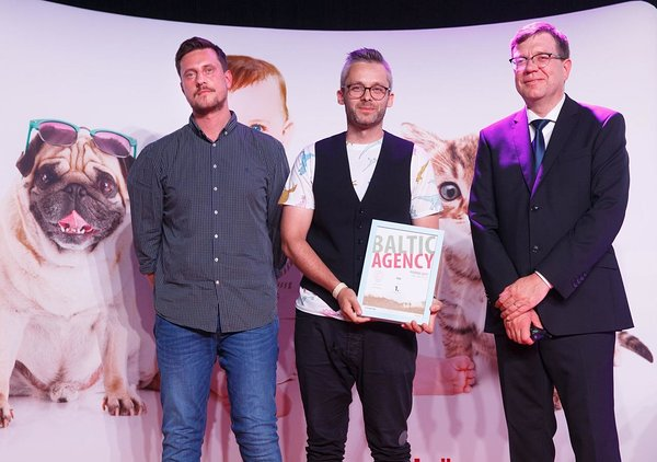 Marius Plakis, MILK Agency; Rimantas Stanevičius, MILK Agency; Hando Sinisalu, Best Marketing International at Balticbest 2017 gala in Tallinn, Estonia on Aug. 30, 2017