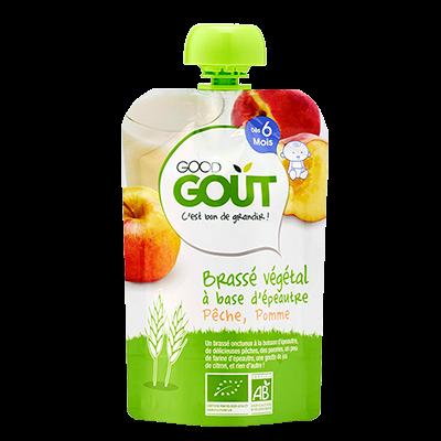 Ökoloogiline õuna ja virsikupüree spelta nisu jogurtiga, peale 6. elukuud 90g