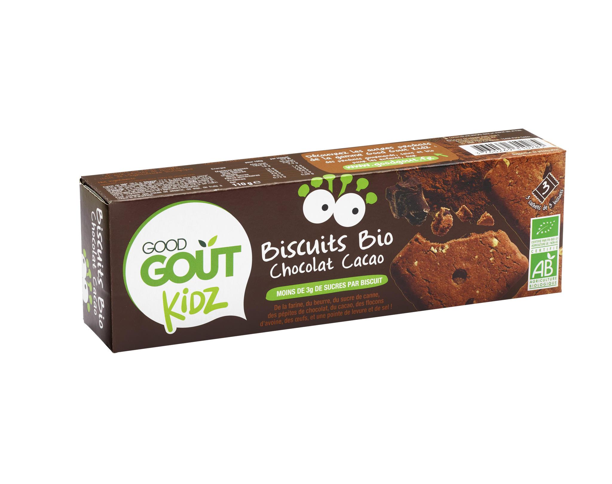 Ökoloogilised teraviljaküpsised kakao ja šokolaaditükkidega. Peale 3. eluaastat. 110g
