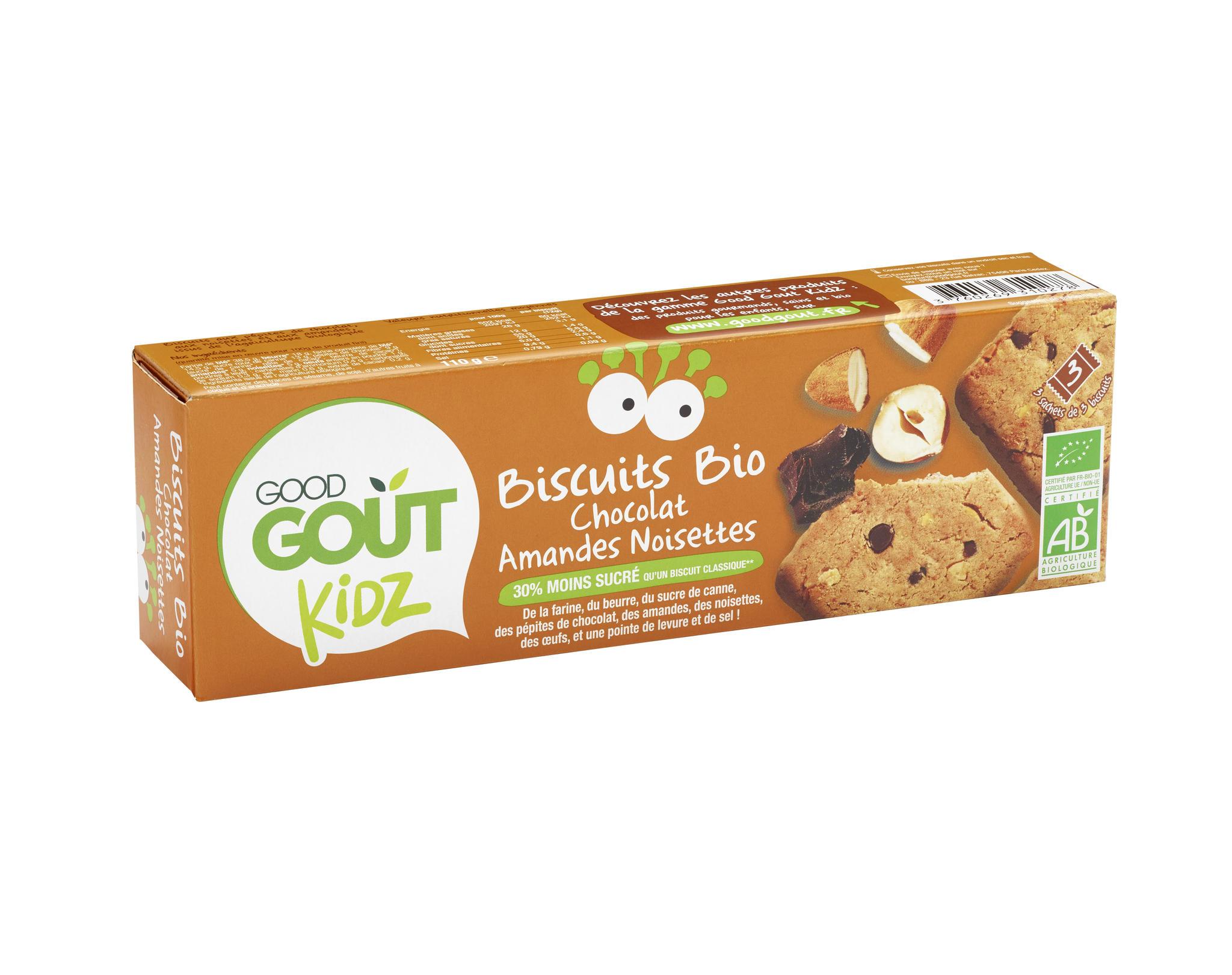 Ökoloogilised küpsised šokolaadi, mandlite ja sarapuupähklitega. Peale 3. eluaastat. 110g