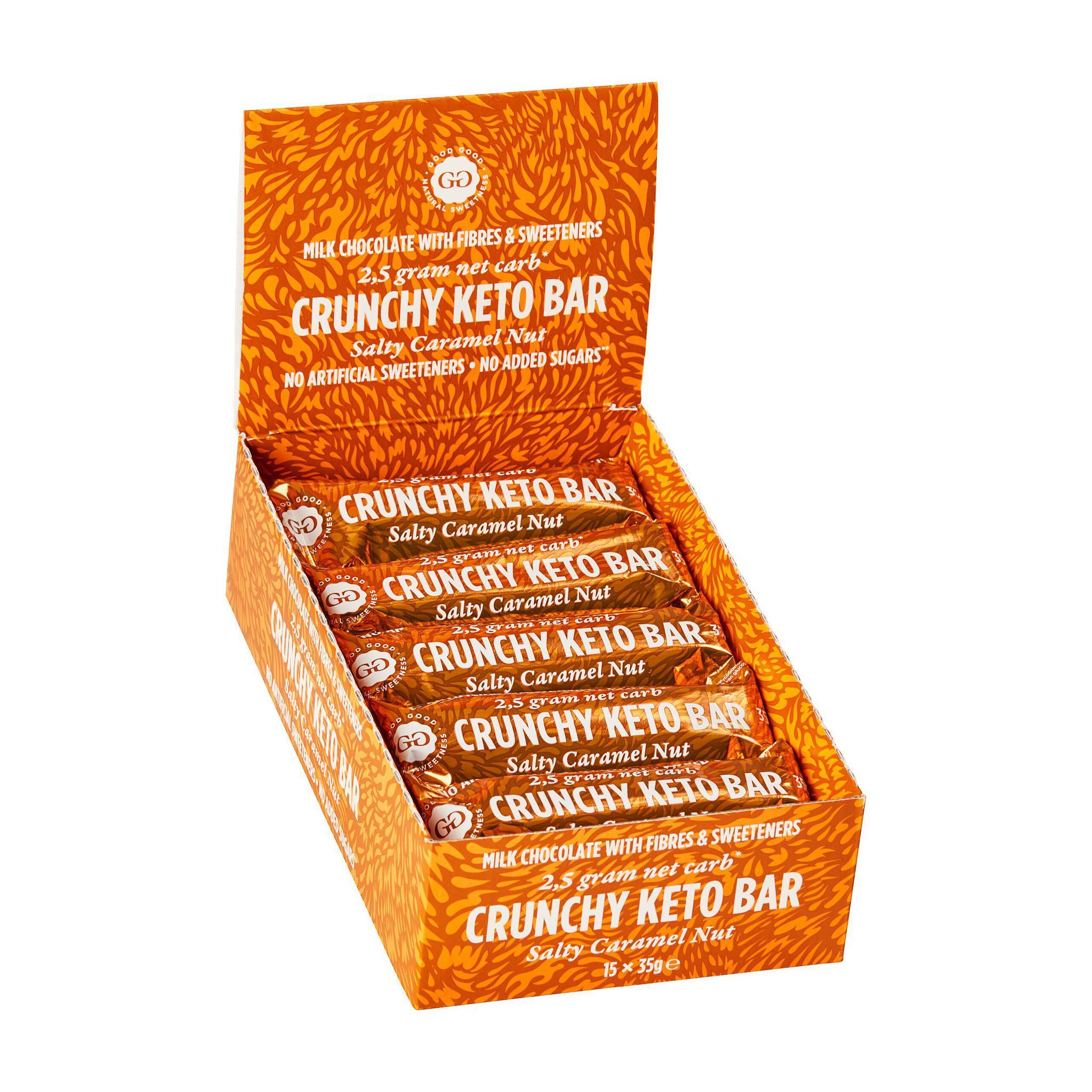 Krõmpsuv soolapähkli ja karamellimaitseline KETO šokolaadibatoon 35g (15tk KARBIS)
