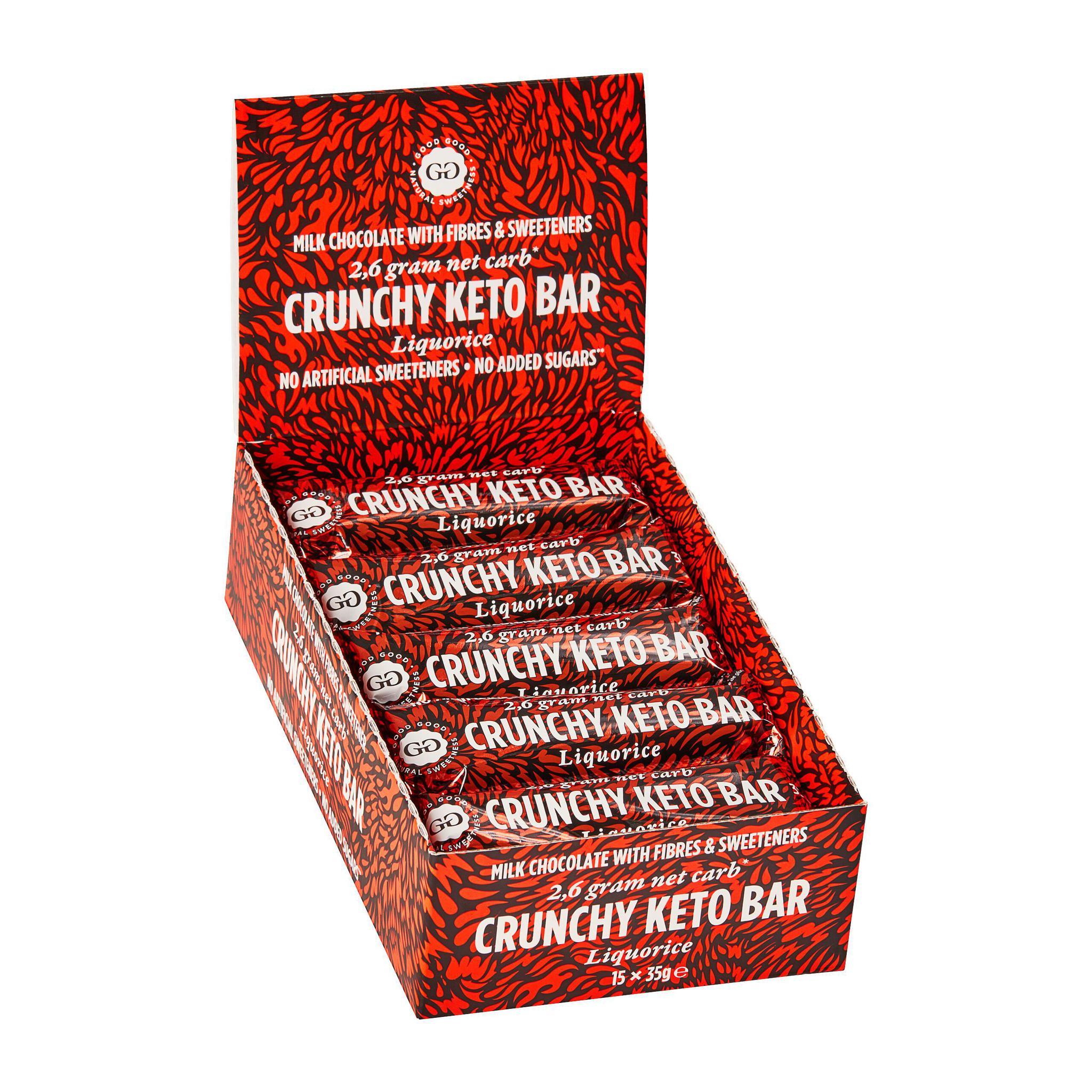 Krõmpsuv lagritsamaitseline KETO šokolaadibatoon 35g. (15 tk KARBIS)