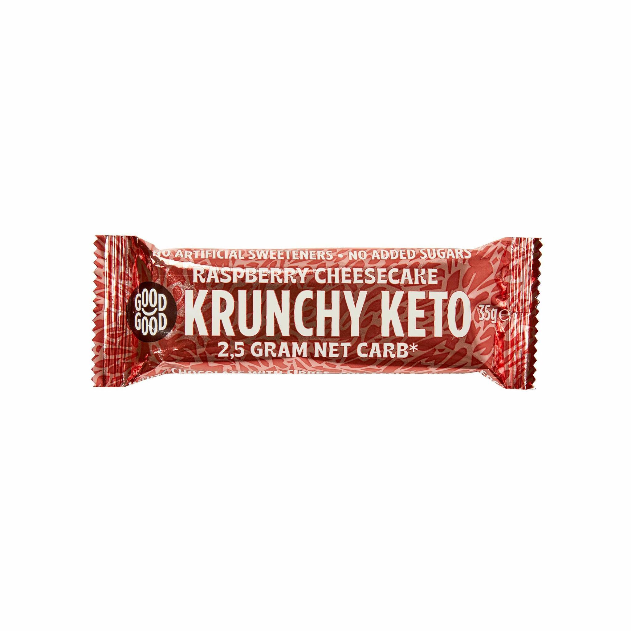 Good Good vaarika-juustukoogi maitseline KETO batoon kollageeniga 35g (15)