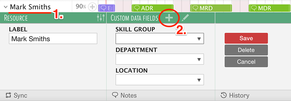 Adding custom data to resources in resource planning software