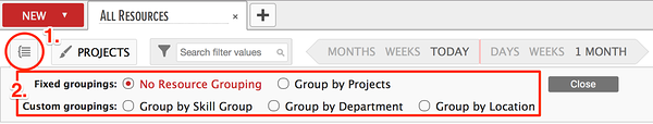 List of options enables custom resource groupings in resource planning software