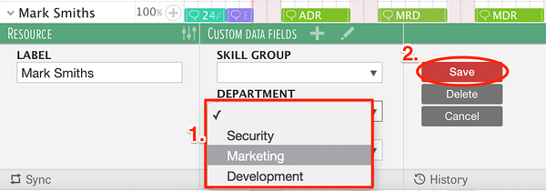 Select predefined values from dropdown menu