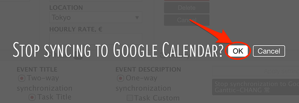 Confirm that you want to stop synchronizing Google Calendar resources with gantt chart