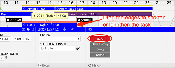 Reschedule or resize tasks with drag-release