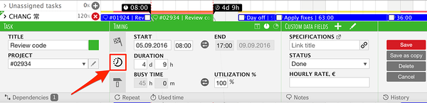 Calculate task end (start) time using start (end) time and duration