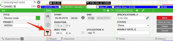 Calculate task duration and end (start) time using start (end) time, busy time, utilization and worktime settings