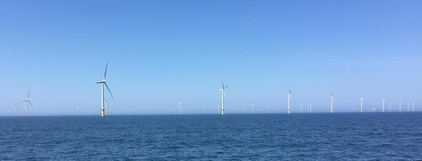 Photo: Offshore wind farm near the island of Helgoland in Germany, picture taken from the boat