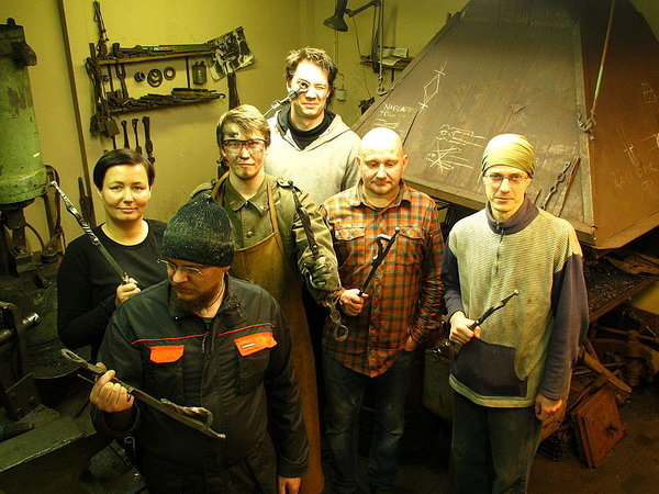 Tired, but happy participants in the blacksmithing course.