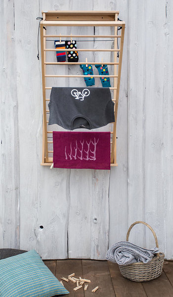 wooden bathroom drying rack
