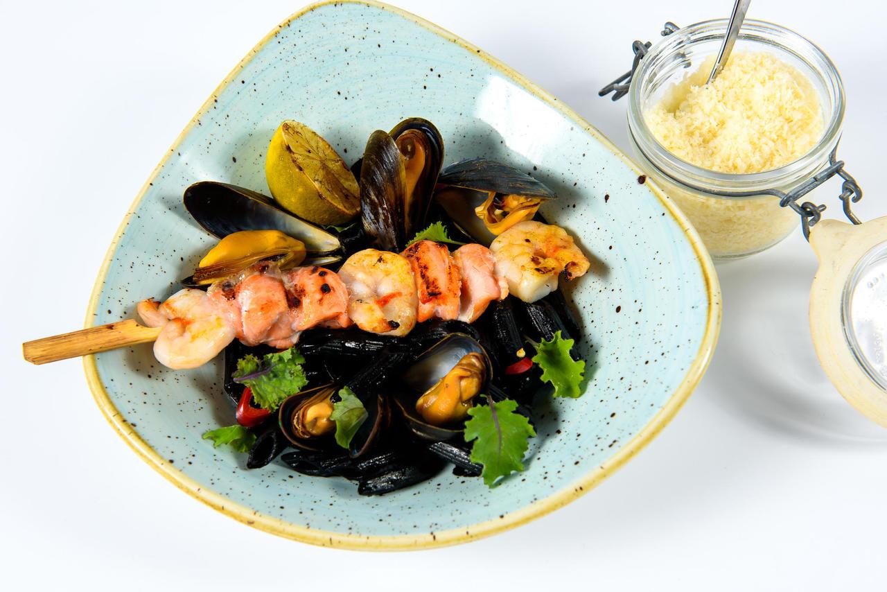 Black seafood pasta