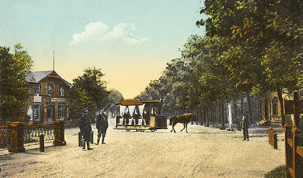 Horse-drawn tram from city centre to Kadriorg. Late 19th century. Postcard: Kadriorg Park.
