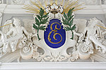 Side wall of the Great Hall of Kadriorg Palace: fireplace and monogram of Peter the Great. Photo: Arne Maasik