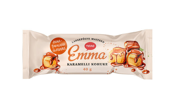 Emma curd snack with caramel filling in milk chocolate glaze
